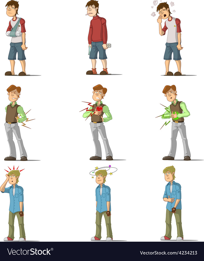Medicine disease man flat characters set vector | Price: 1 Credit (USD $1)