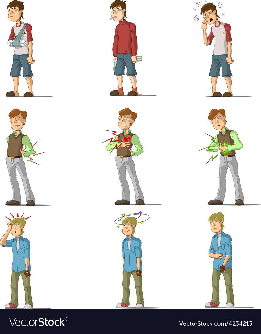 Medicine disease man flat characters set vector | Price: 1 Credit (USD $1)