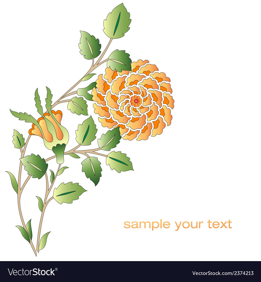 Ottoman yellow roses flower series vector | Price: 1 Credit (USD $1)