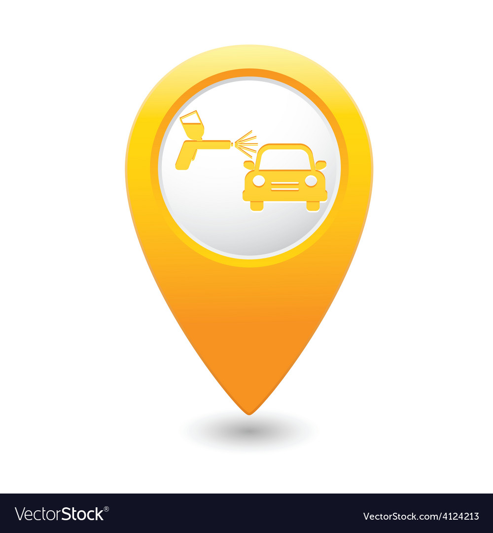 Painting of cars map pointer yellow vector | Price: 1 Credit (USD $1)