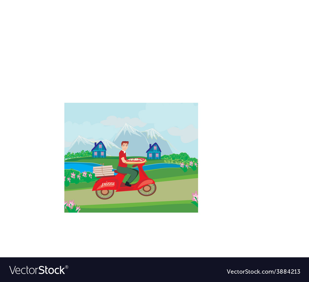 Pizza delivery man on a motorcycle vector   Price: 1 Credit (USD $1)