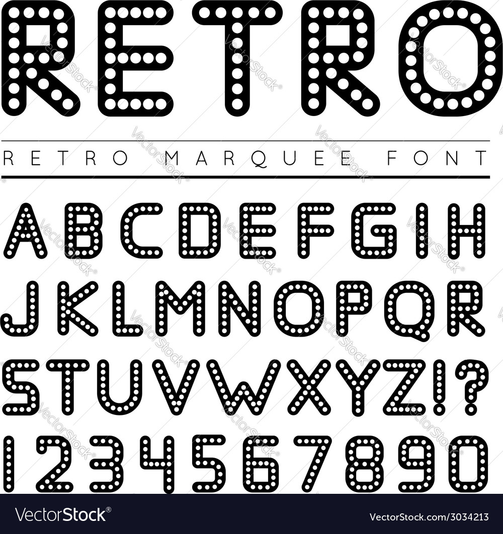 Retro marquee font vector | Price: 1 Credit (USD $1)
