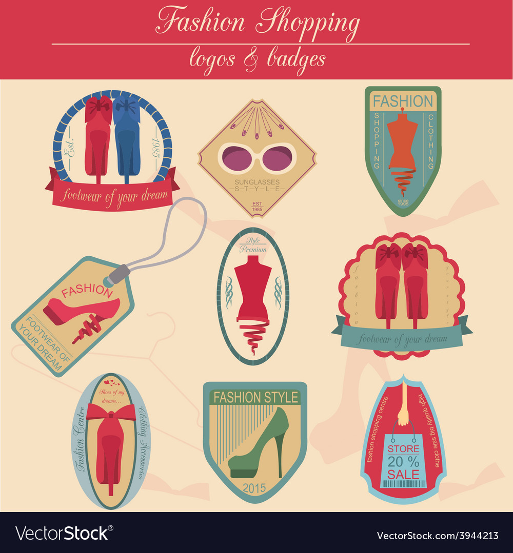 Set of vintage fashion and clothes style logos vector   Price: 1 Credit (USD $1)