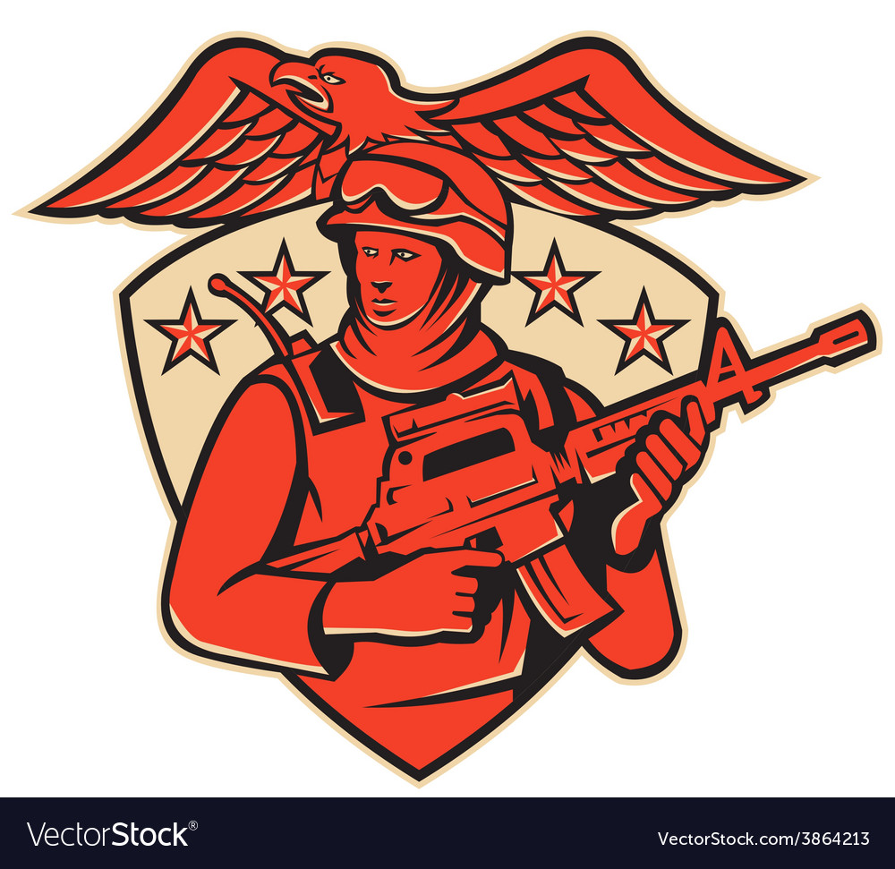 Soldier swat policeman rifle eagle shield vector | Price: 1 Credit (USD $1)
