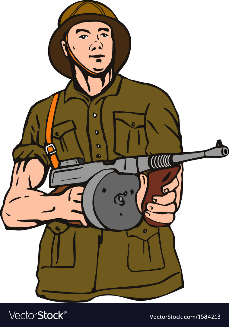 Soldier with thompson gun vector | Price: 1 Credit (USD $1)