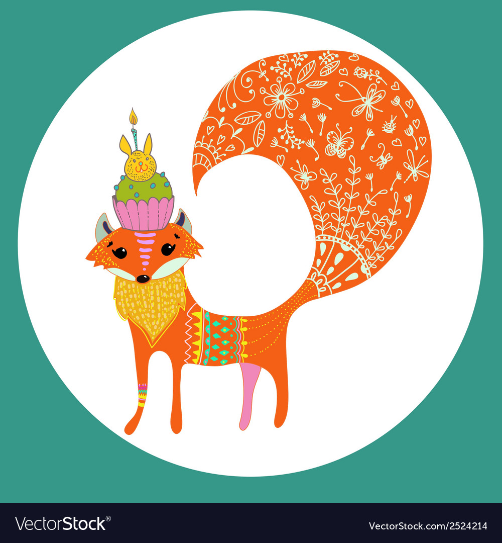 Cartoon color fox vector | Price: 1 Credit (USD $1)