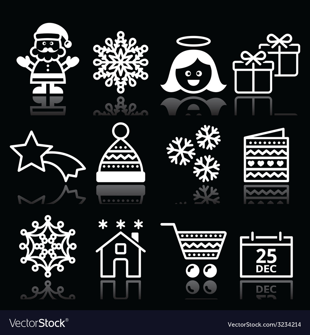 Christmas xmas celebrate white icons set on black vector | Price: 1 Credit (USD $1)