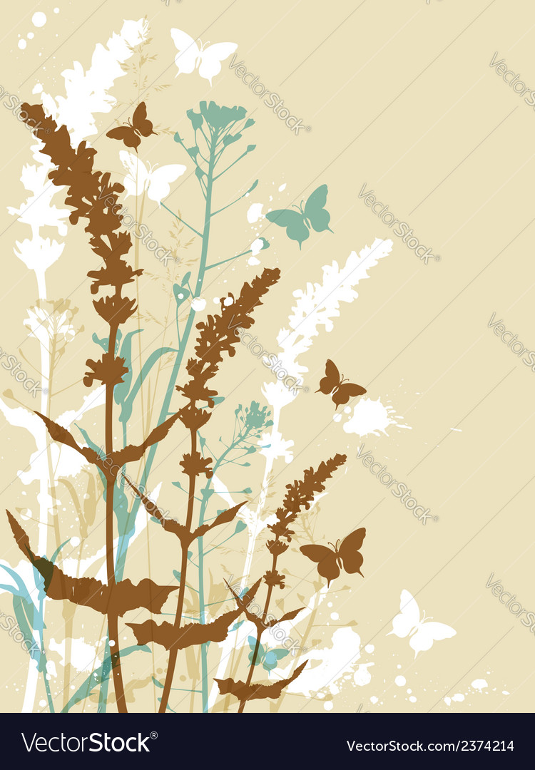 Decorative floral background with butterflies vector | Price: 1 Credit (USD $1)