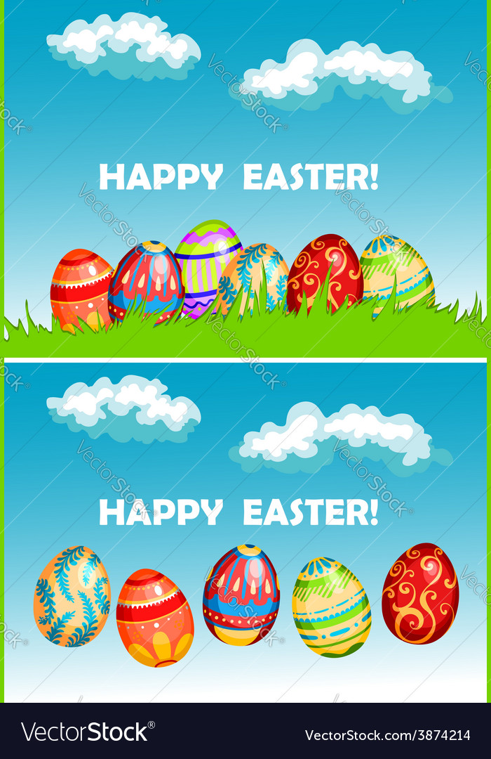 Happy easter cards with colorful decorated eggs vector | Price: 1 Credit (USD $1)