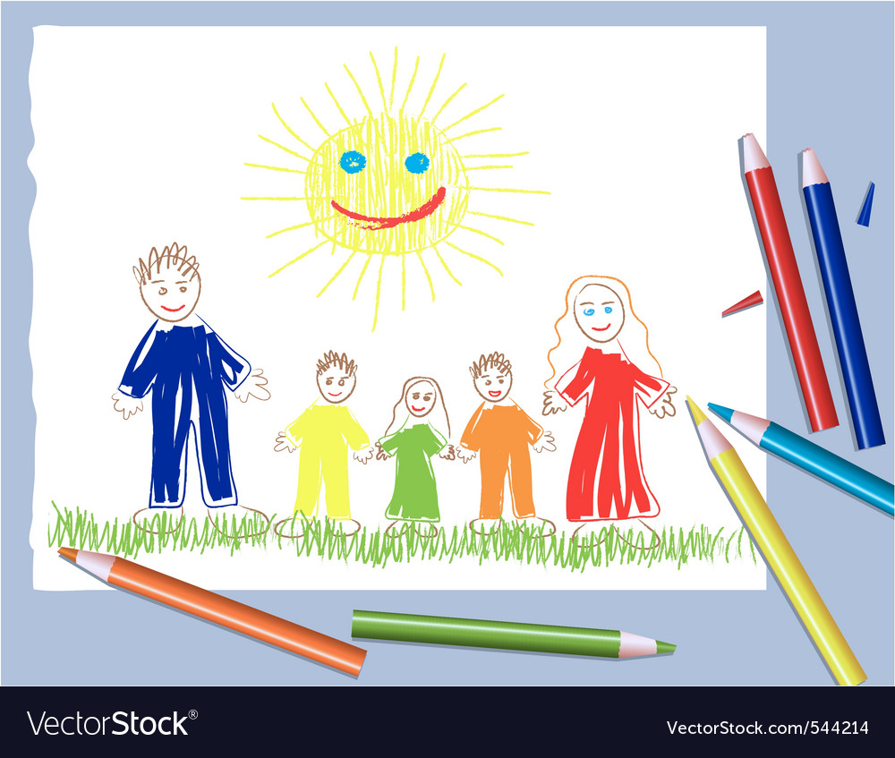 Happy family and the sun vector | Price: 1 Credit (USD $1)