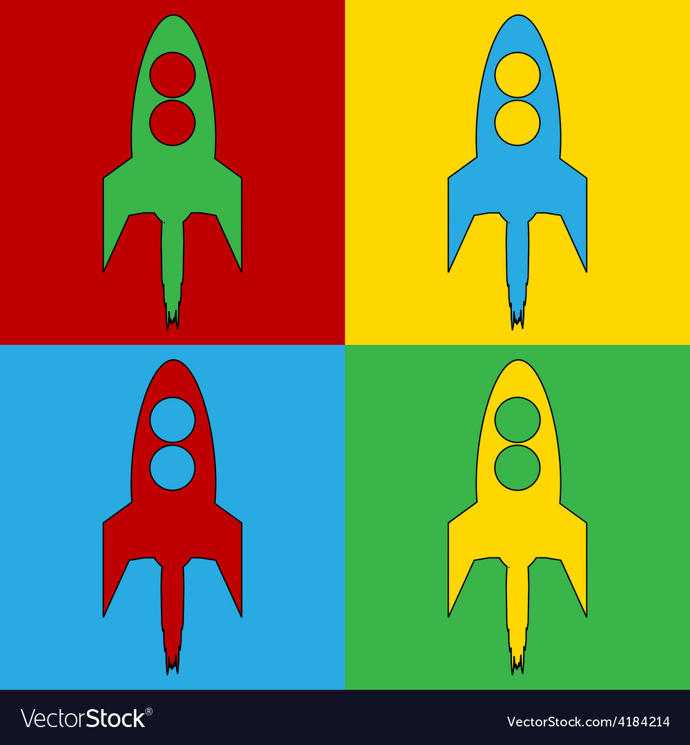 Pop art starting rocket icons vector | Price: 1 Credit (USD $1)