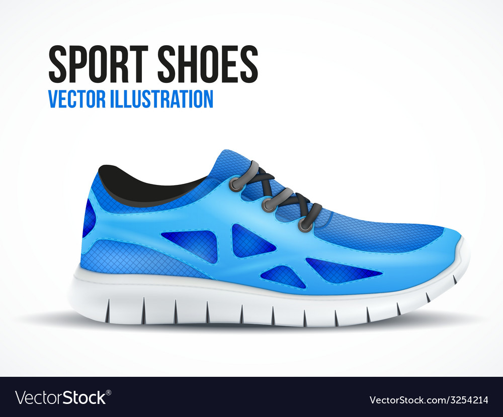 Running blue shoes bright sport sneakers symbol vector | Price: 1 Credit (USD $1)