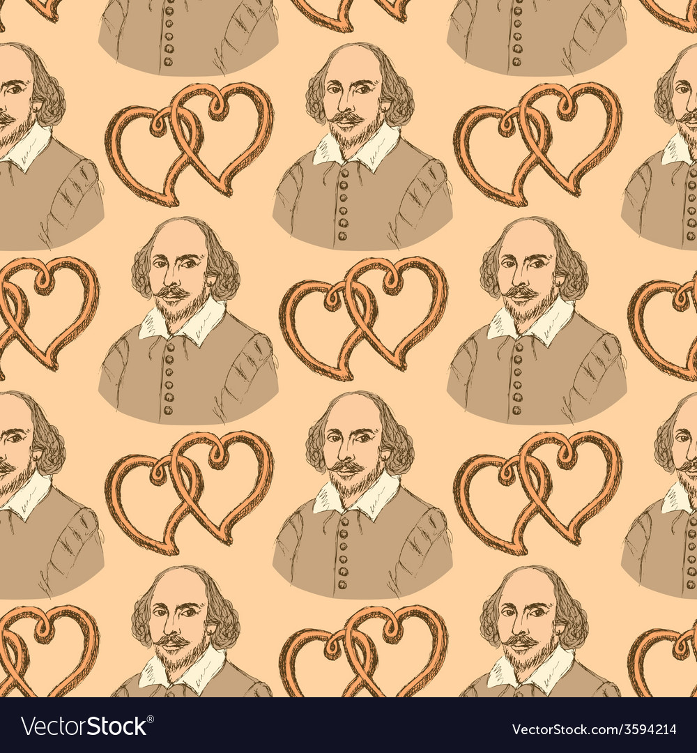 Sketch shakespeare and hearts in vintage style vector | Price: 1 Credit (USD $1)