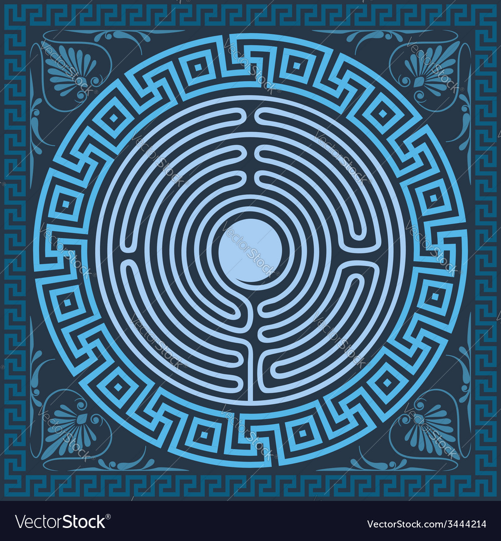 Traditional vintage blue square and round greek or vector   Price: 1 Credit (USD $1)