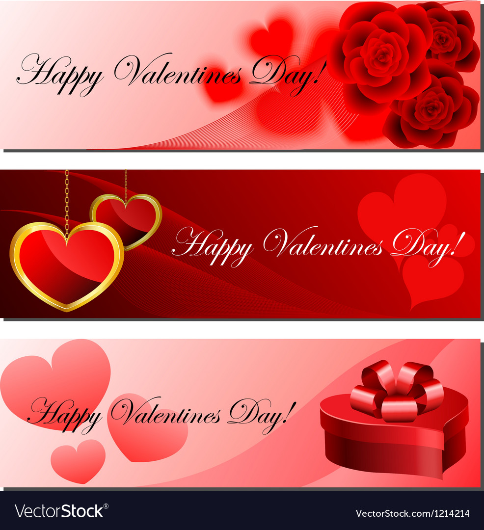 Valentine banner set vector | Price: 1 Credit (USD $1)