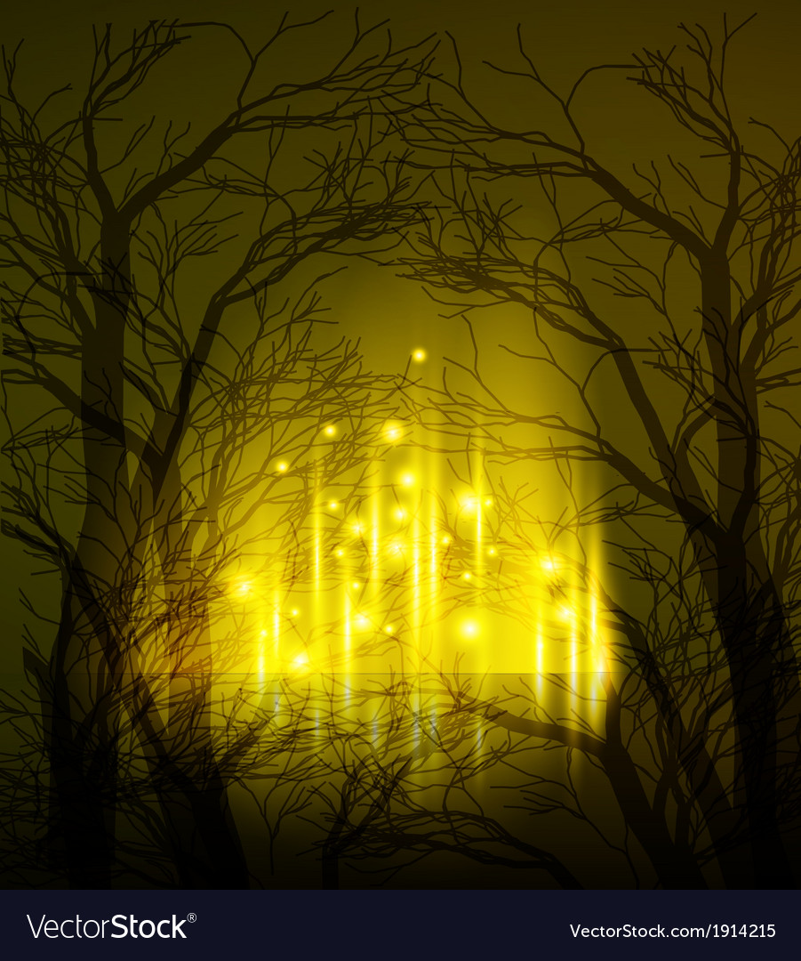 Abstract dramatic night tree vector | Price: 1 Credit (USD $1)