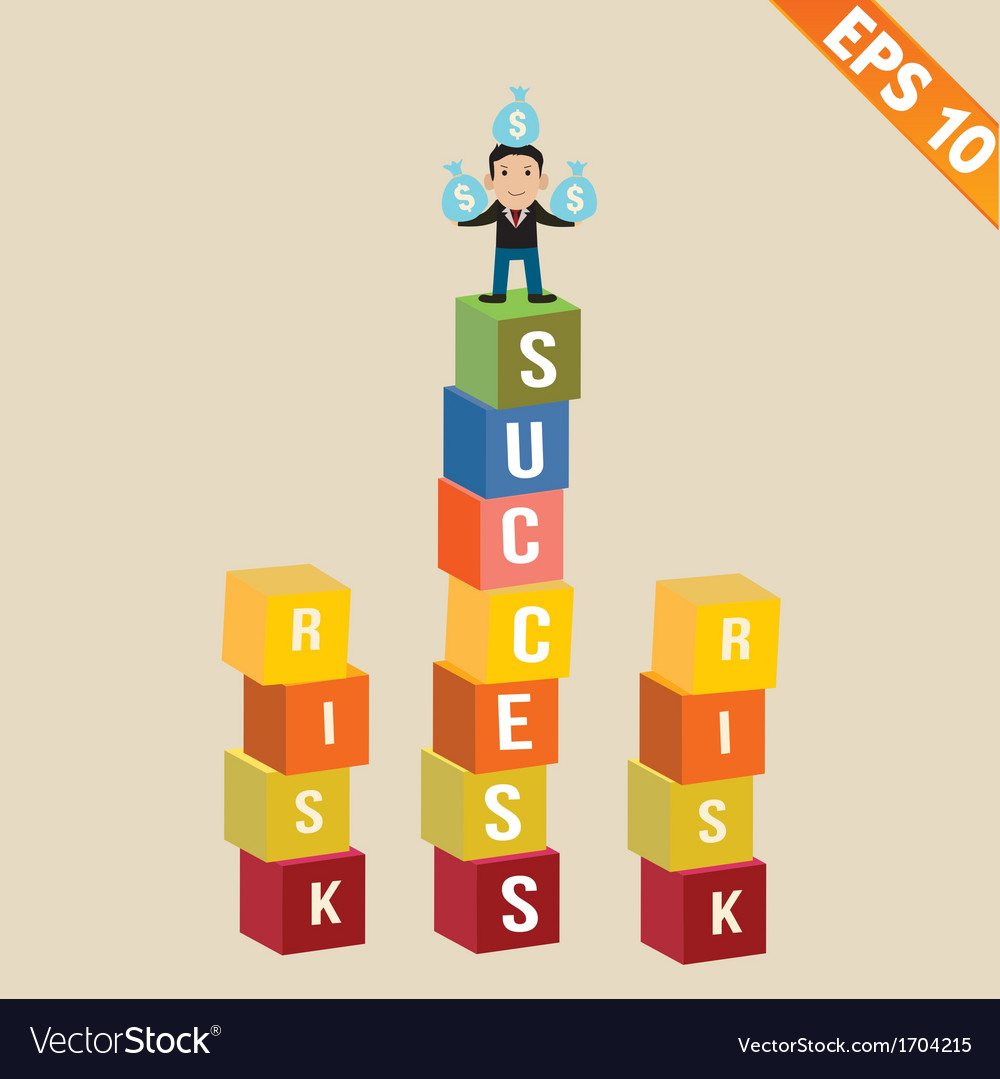 Cartoon businessman stand on success block - vector | Price: 1 Credit (USD $1)