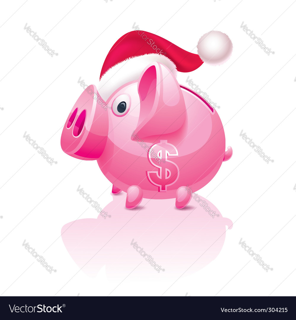 Christmas piggy bank vector | Price: 3 Credit (USD $3)