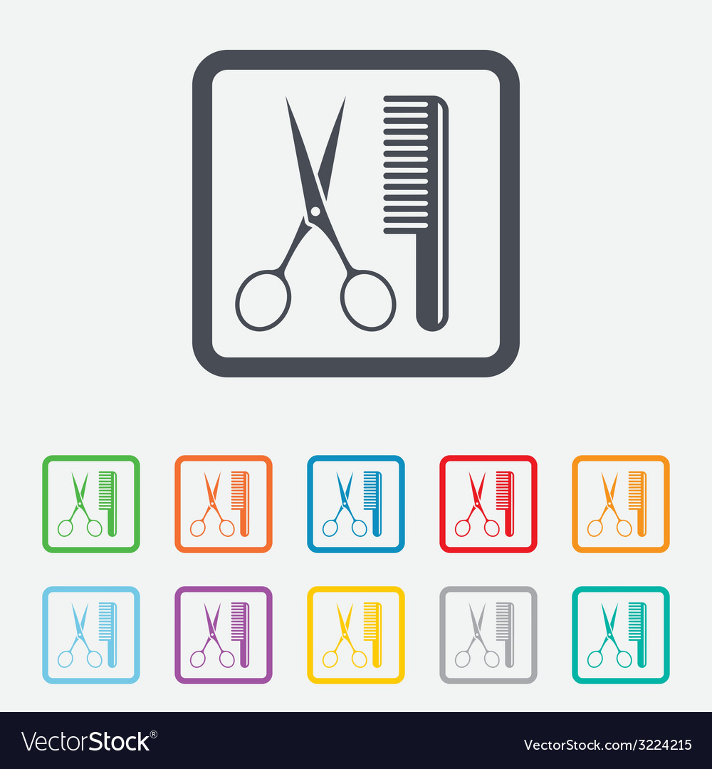 Comb hair with scissors sign icon barber symbol vector | Price: 1 Credit (USD $1)