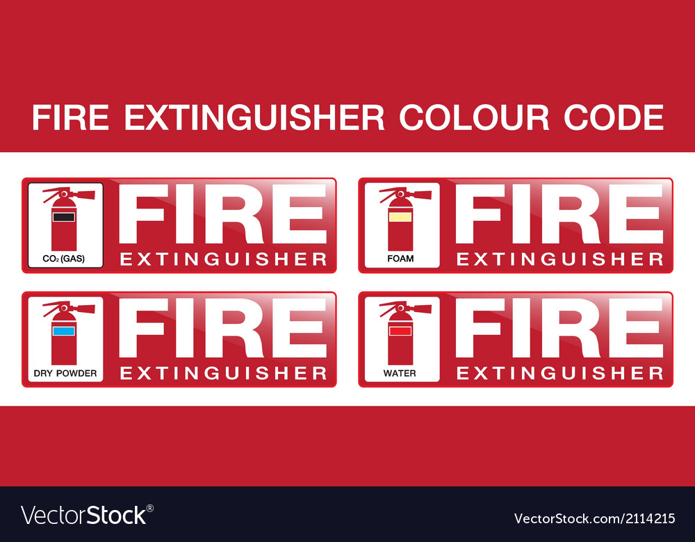 Fire extinguisher colour code vector | Price: 1 Credit (USD $1)