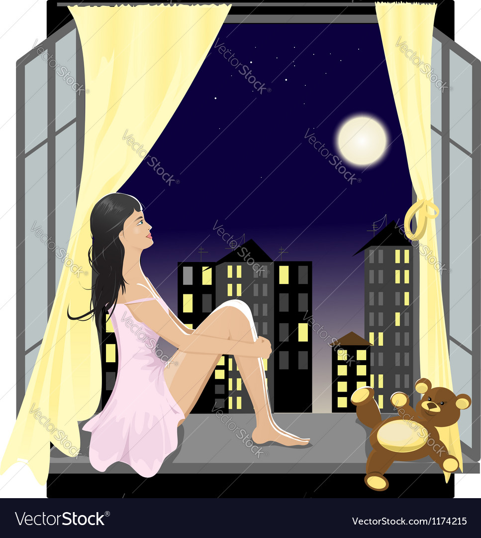 Girl at the window in the night vector | Price: 5 Credit (USD $5)