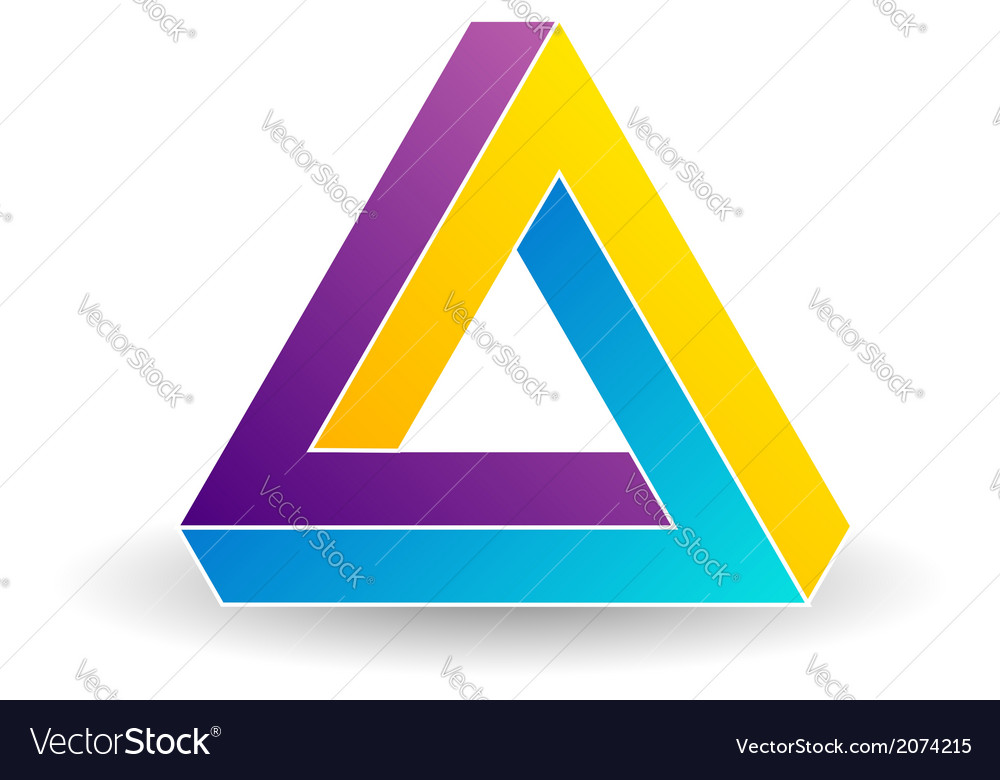 Pen rose triangle- tricolor 3d business logo vector | Price: 1 Credit (USD $1)
