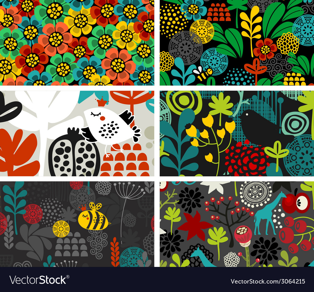 Set of cards with birds animals and flowers vector | Price: 1 Credit (USD $1)
