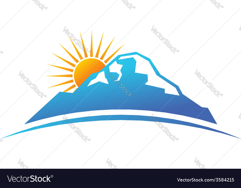 Sunny mountain logo vector | Price: 1 Credit (USD $1)