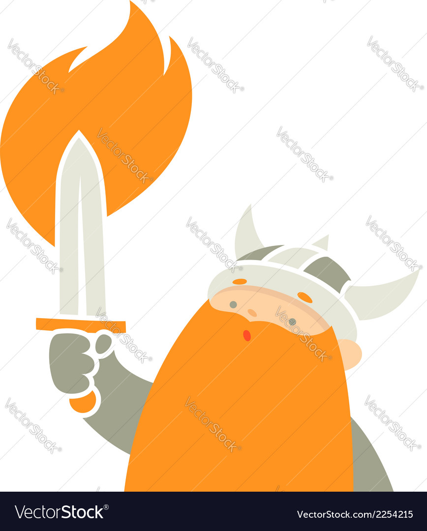 Viking holding sword vector | Price: 1 Credit (USD $1)