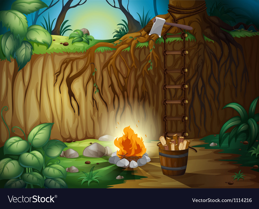 A bonfire in the jungle vector | Price: 3 Credit (USD $3)