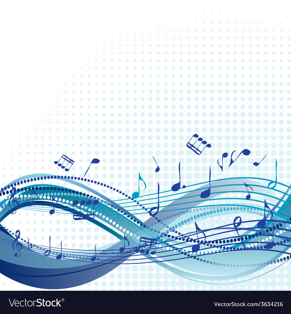 Abstract blue music background with notes vector | Price: 1 Credit (USD $1)
