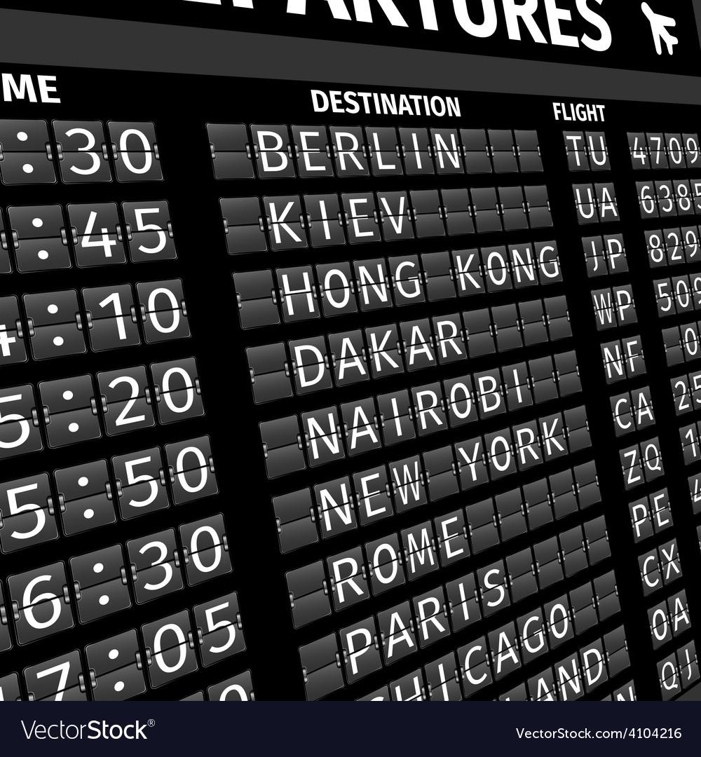 Airport departure board in perspective vector | Price: 1 Credit (USD $1)