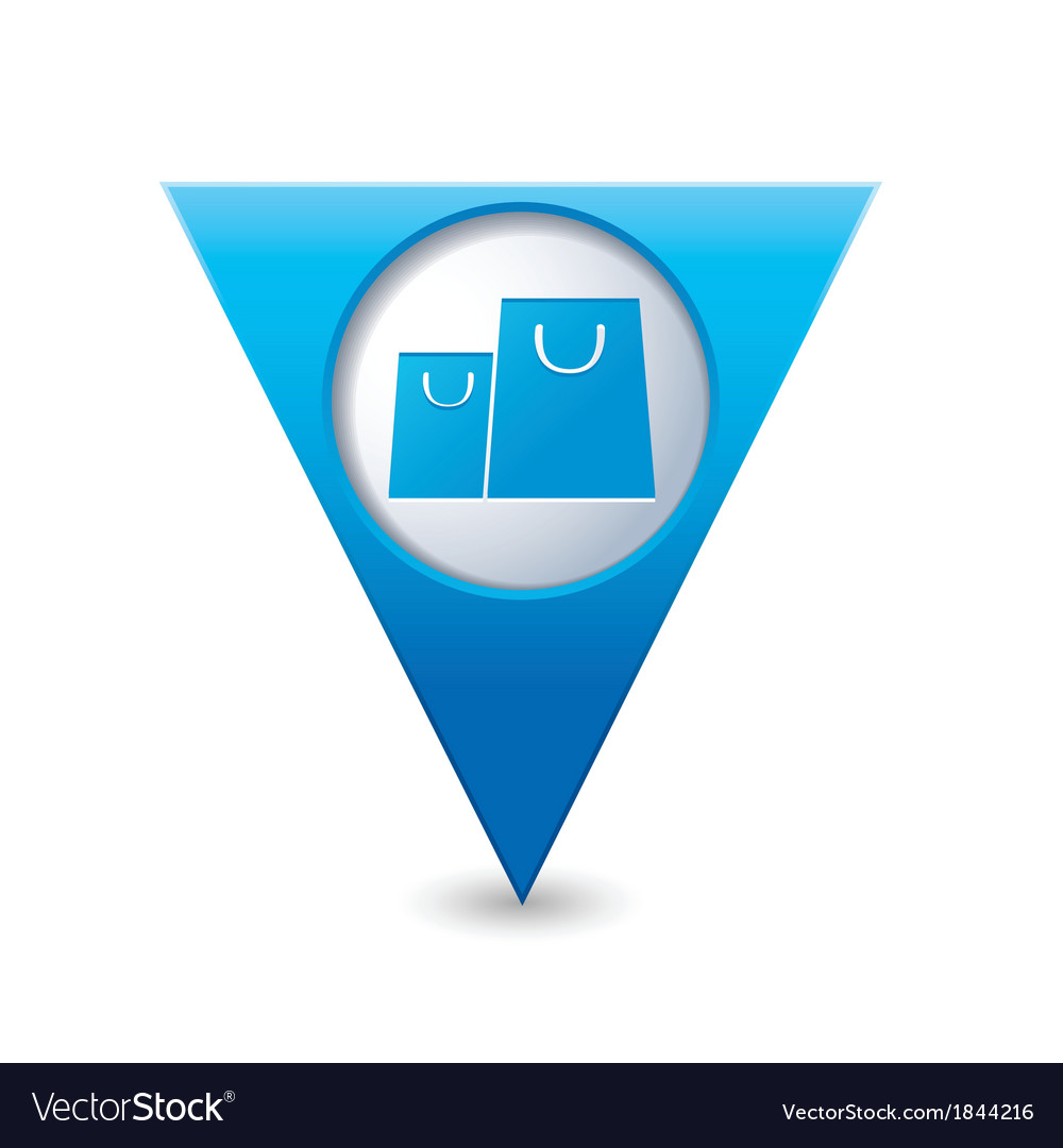 Bags icon map pointer blue vector | Price: 1 Credit (USD $1)