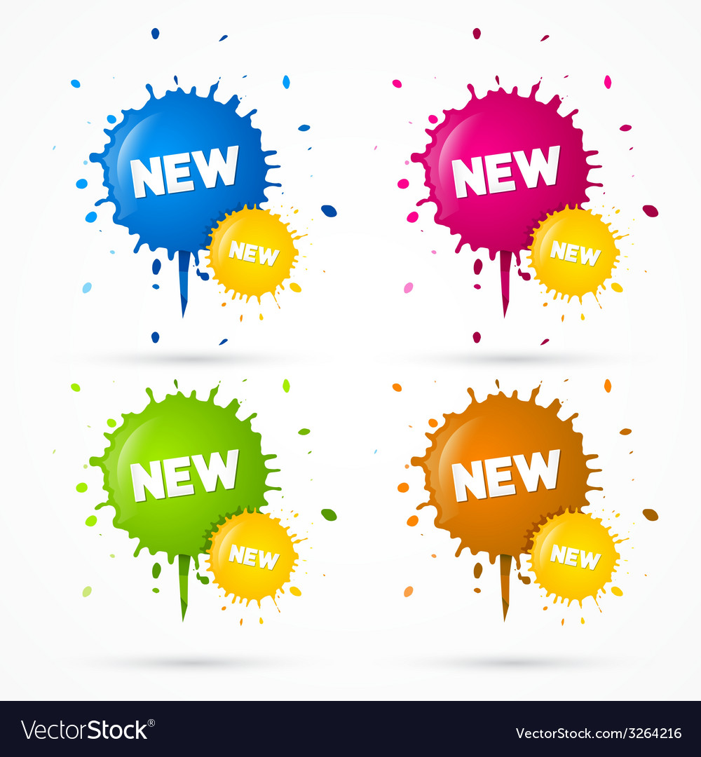 Blue orange pink and green stickers blots stains vector | Price: 1 Credit (USD $1)