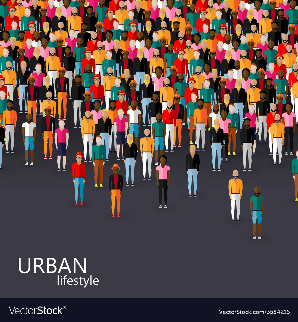 Flat of male community with a crowd of guys and vector | Price: 1 Credit (USD $1)