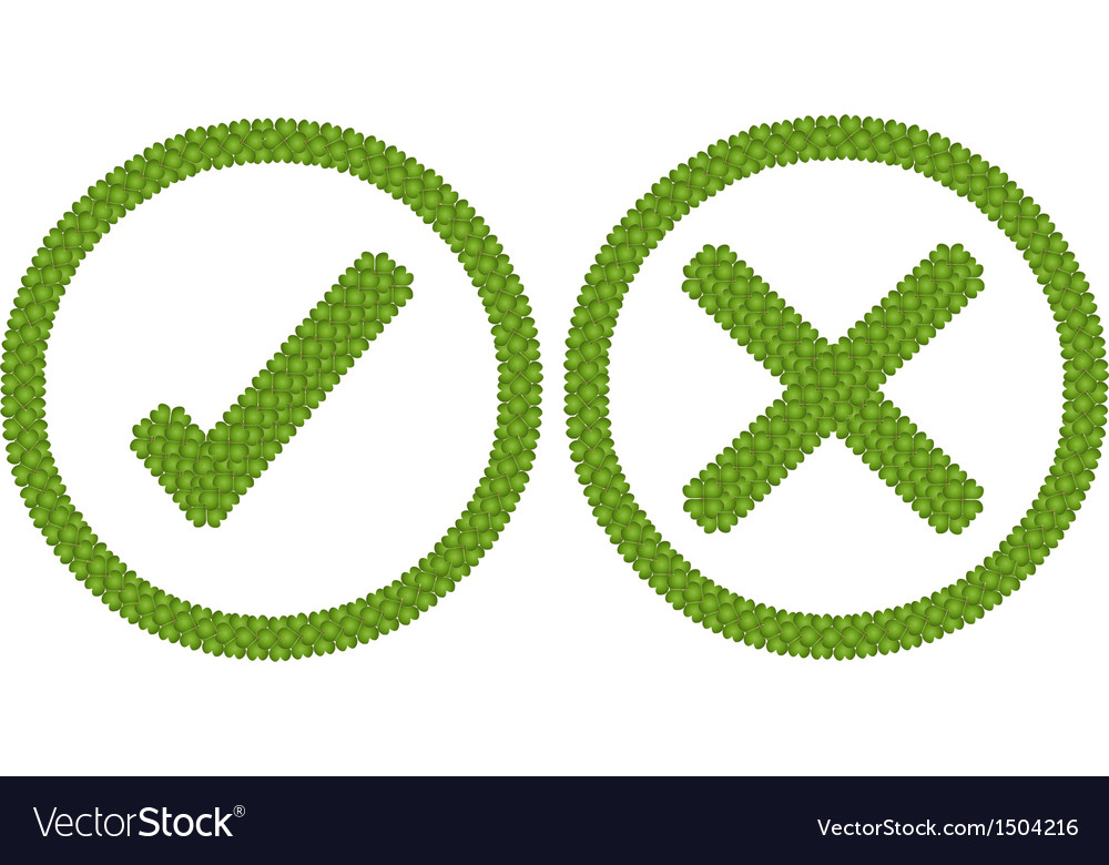 Four leaf clover of tick and cross in circle frame vector | Price: 1 Credit (USD $1)