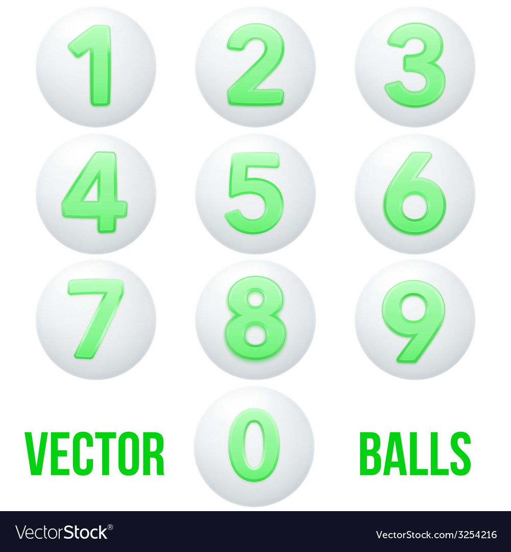 Full collection of icons balls with numbers vector | Price: 1 Credit (USD $1)