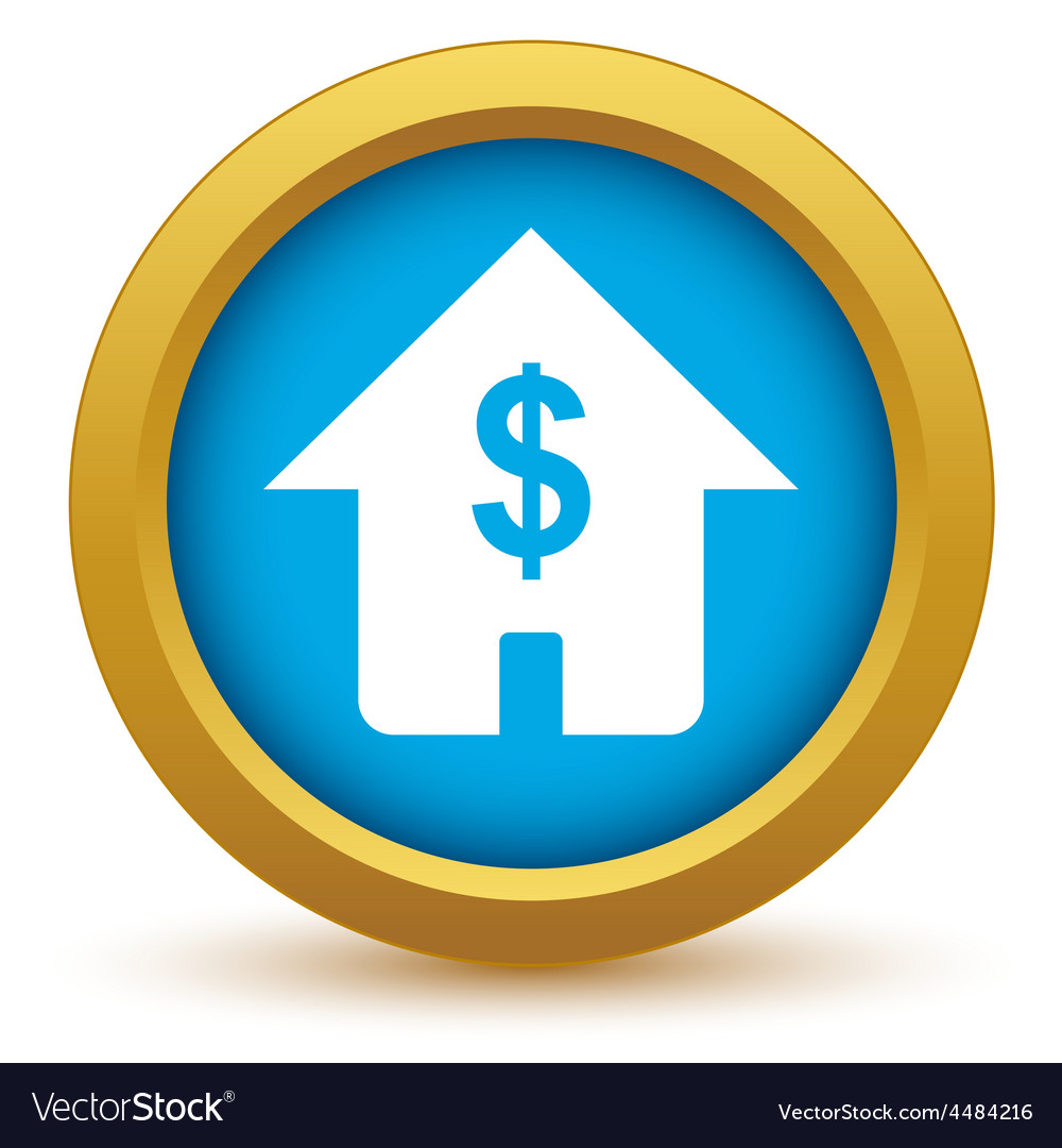 Gold dollar house icon vector | Price: 1 Credit (USD $1)