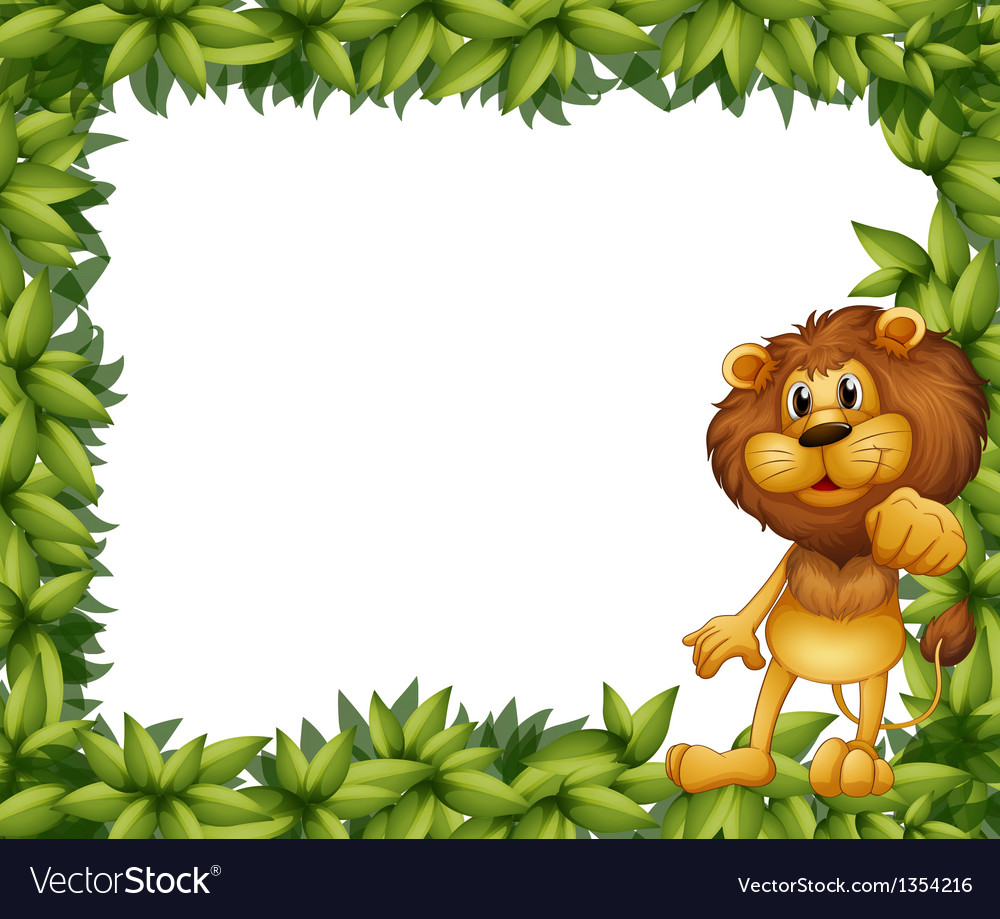 Lion leafy frame vector | Price: 1 Credit (USD $1)