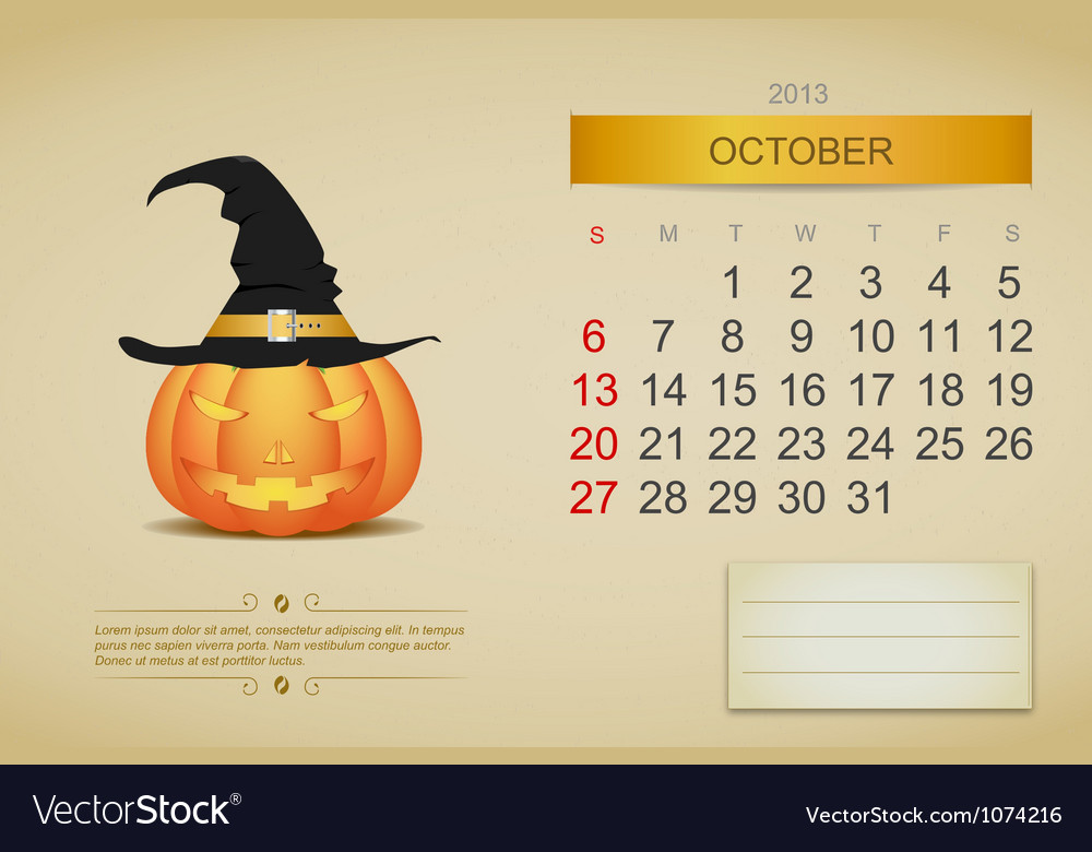 October 2013 calendar vector | Price: 1 Credit (USD $1)