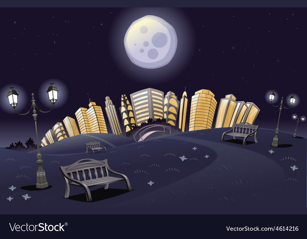 Park in the night vector | Price: 5 Credit (USD $5)