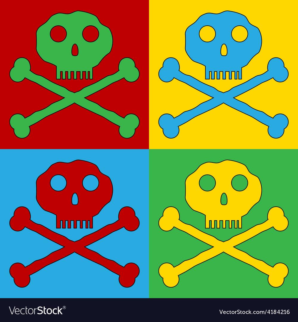 Pop art skull and bones danger sign icons vector | Price: 1 Credit (USD $1)