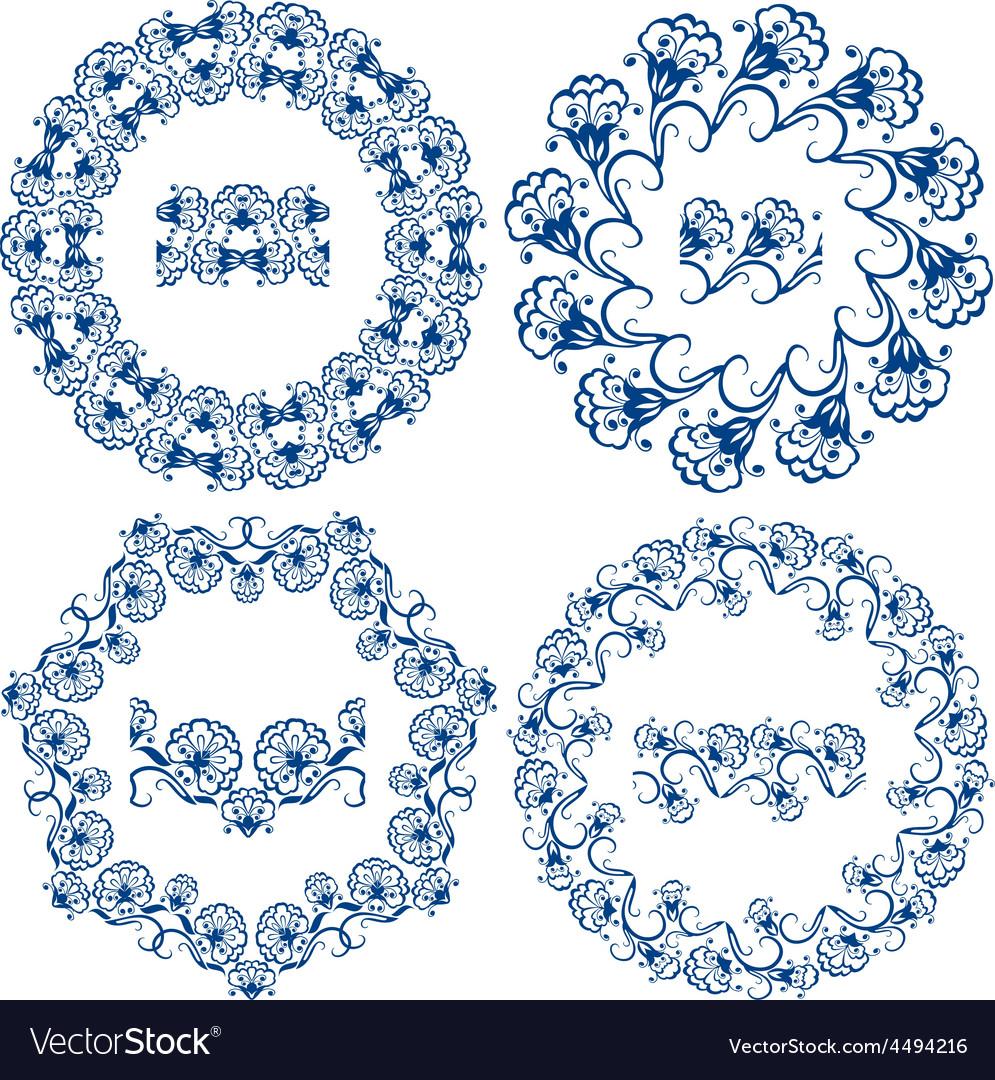 Round ornam blue 3 380 vector