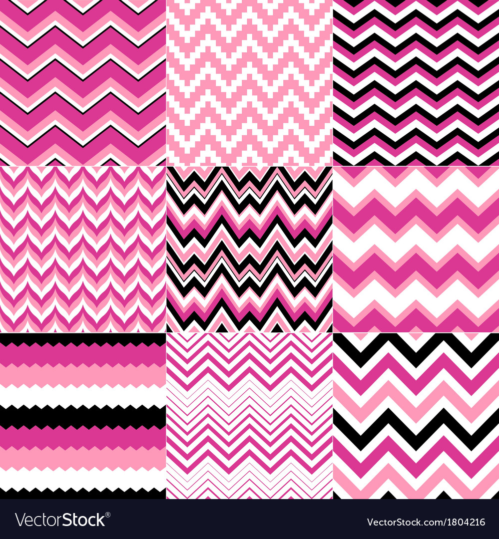 Seamless pink zig zag set vector | Price: 1 Credit (USD $1)