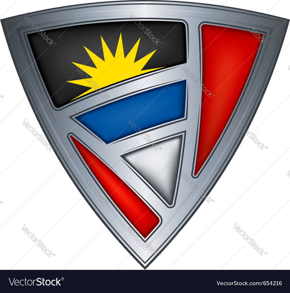 Steel shield with flag antigua and barbuda vector | Price: 1 Credit (USD $1)