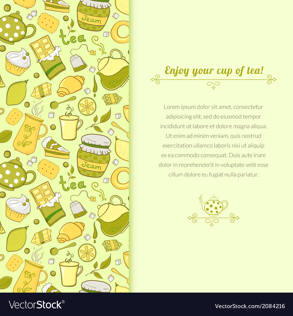 Tea for template card vector | Price: 1 Credit (USD $1)
