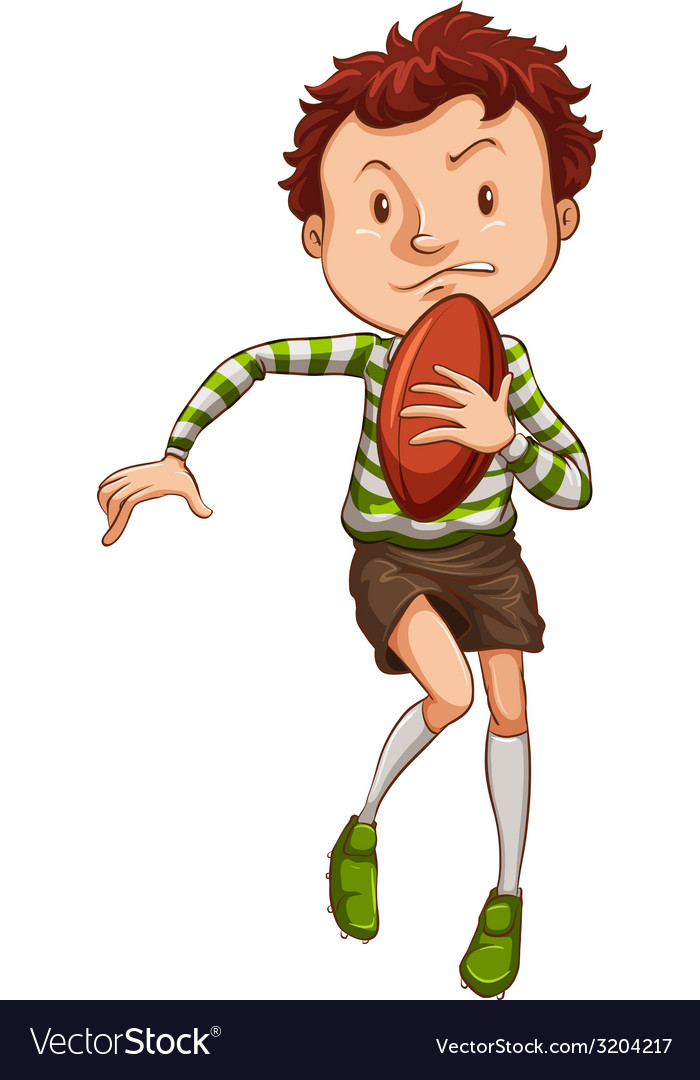 A simple drawing of a young rugby player vector | Price: 1 Credit (USD $1)