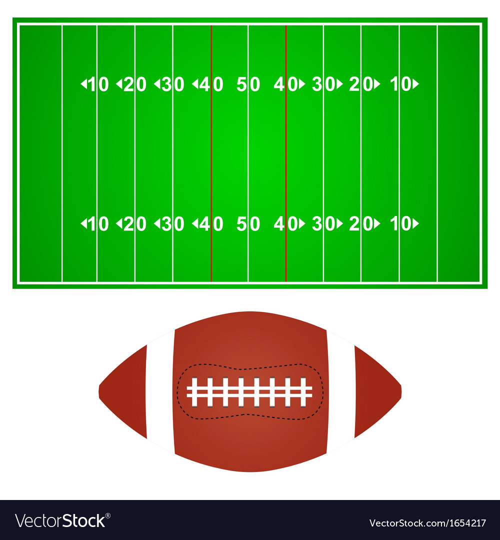 American football field with ball vector | Price: 1 Credit (USD $1)