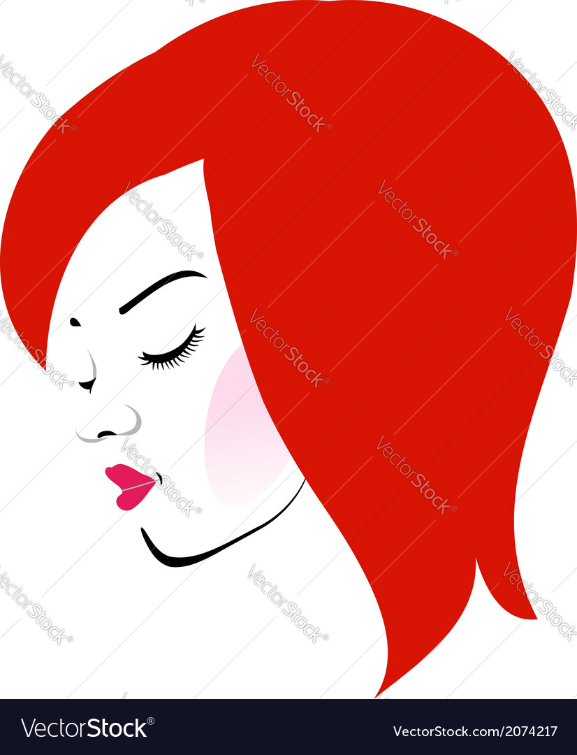 Beautiful redhead wearing a red lipstick vector | Price: 1 Credit (USD $1)