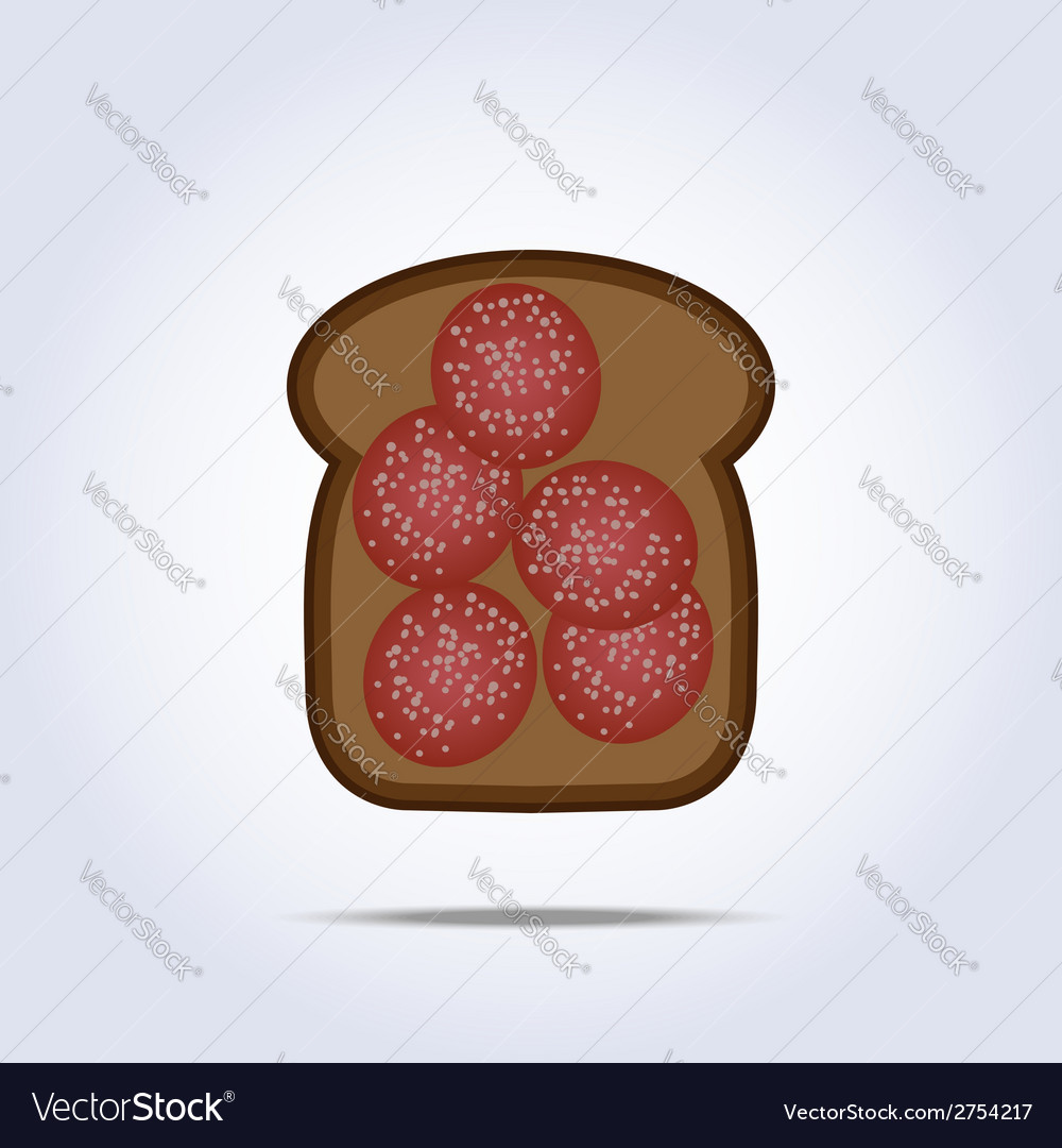 Black toaste with salami icon vector | Price: 1 Credit (USD $1)